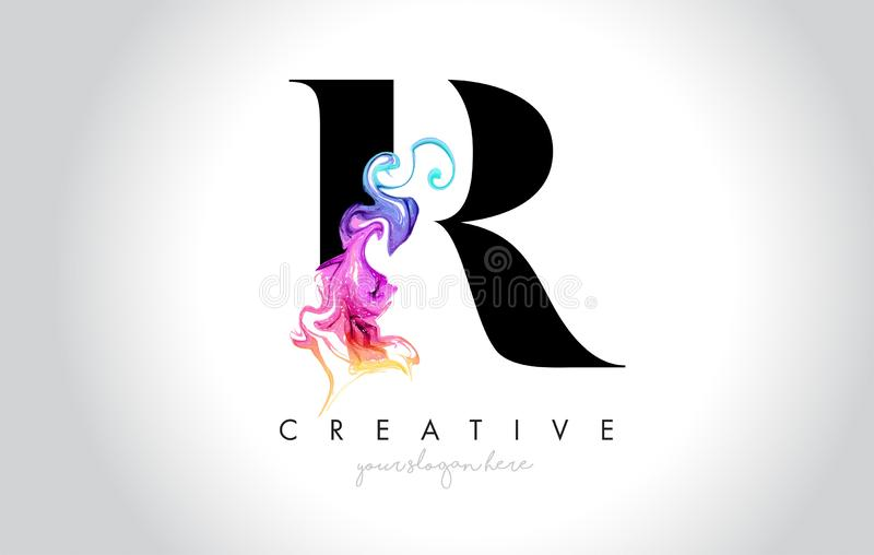 R Leter criativo vibrante Logo Design com tinta colorida Flo do fumo ilustração royalty free