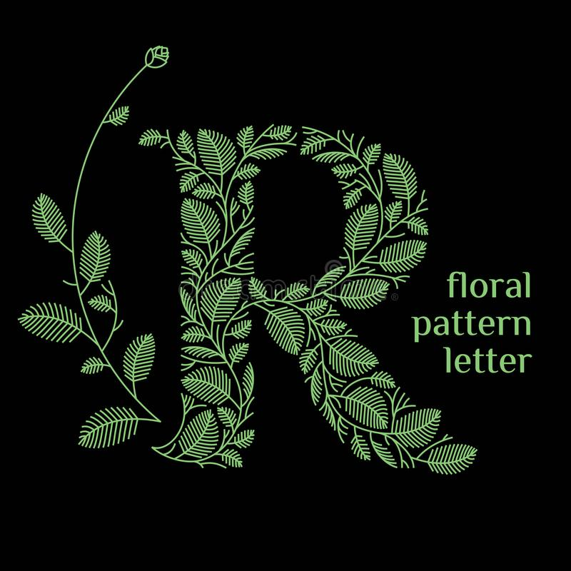 R letter eco logo isolated on black background. Organic bio logo from green grass leaves, plants for corporate identity o. F the company or brand on the letter R royalty free illustration