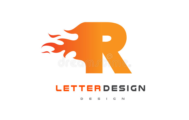 Download R Letter Flame Logo Design Fire Lettering Concept Stock Vector
