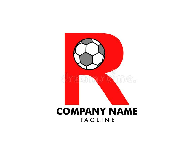 R letter logo, football ball logo design royalty free illustration
