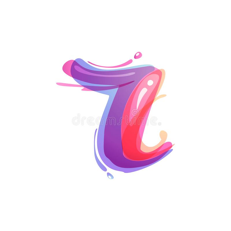 R letter logo formed by watercolor splashes. Color overlay style. Vector typeface for labels, headlines, posters, cards etc vector illustration