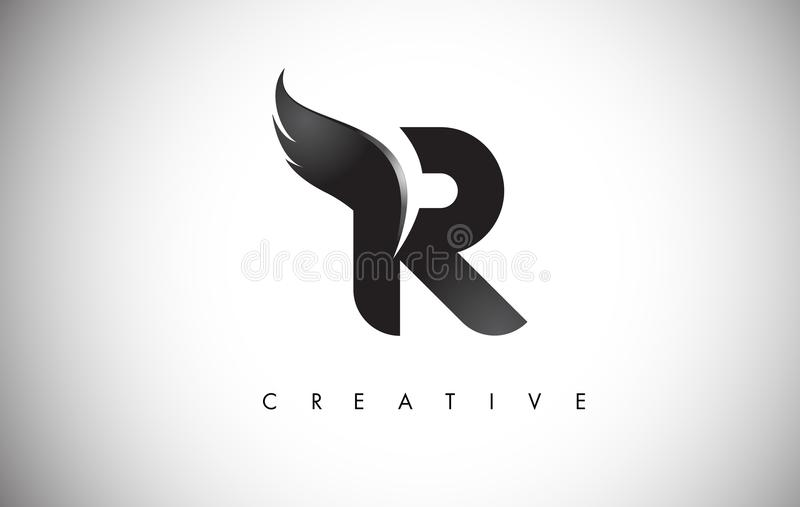 R Letter Wings Logo Design with Black Bird Fly Wing Icon. stock illustration