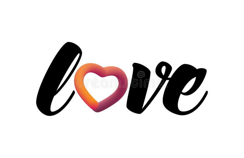 r Lettrage liquide moderne Icône douce colorée de Web de gradient Conception élégante pour des valentines vacances, mariage illustration stock