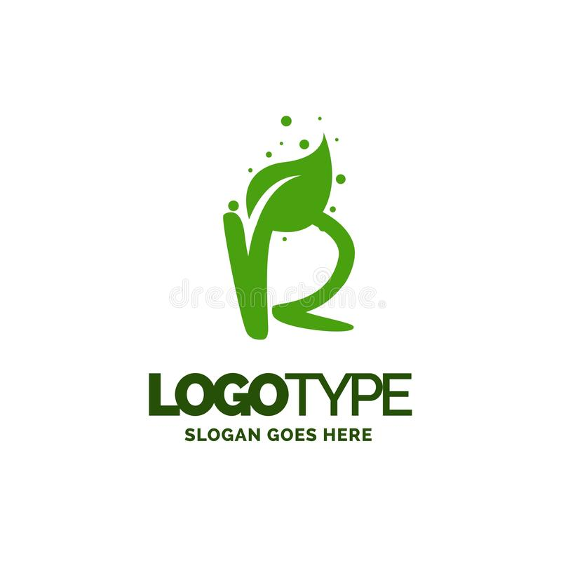 R logo with Leaf Element. Nature Leaf logo designs, Simple leaf. Logo symbol. Natural, eco food. Organic food badges in vector. Vector logos. Natural logos with royalty free illustration