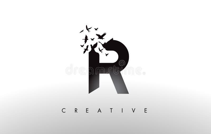 R Logo Letter avec la volée des oiseaux volant et se désagrégeant de illustration de vecteur