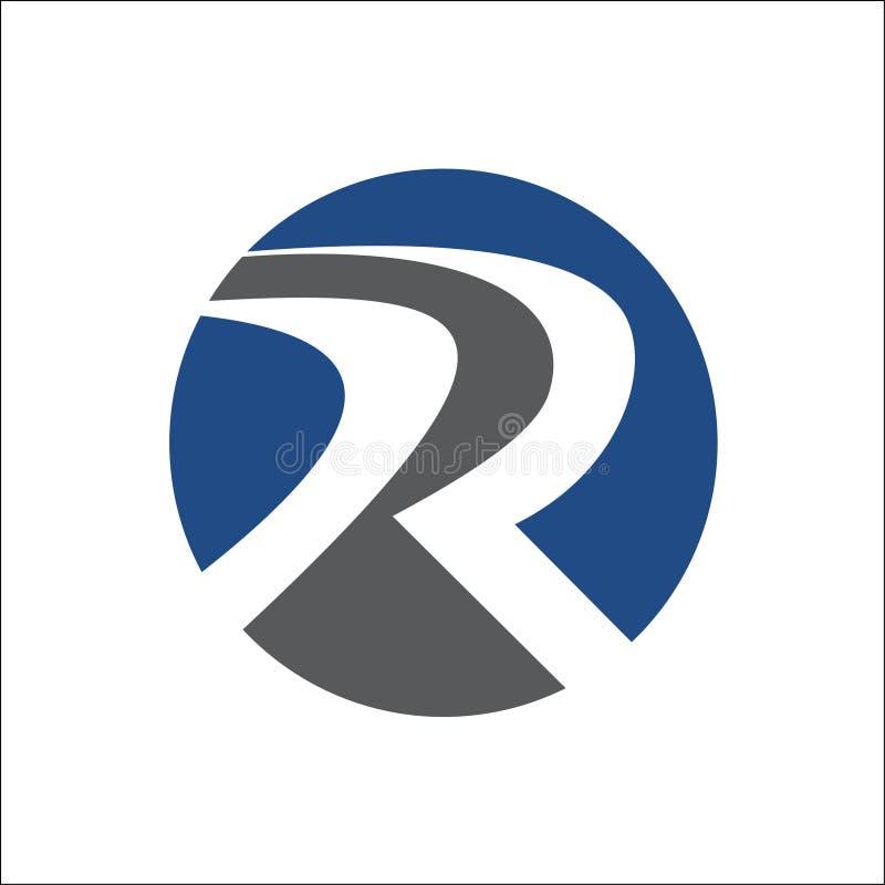 R logo wektorowy abstrakcjonistyczny stały okrąg ilustracji
