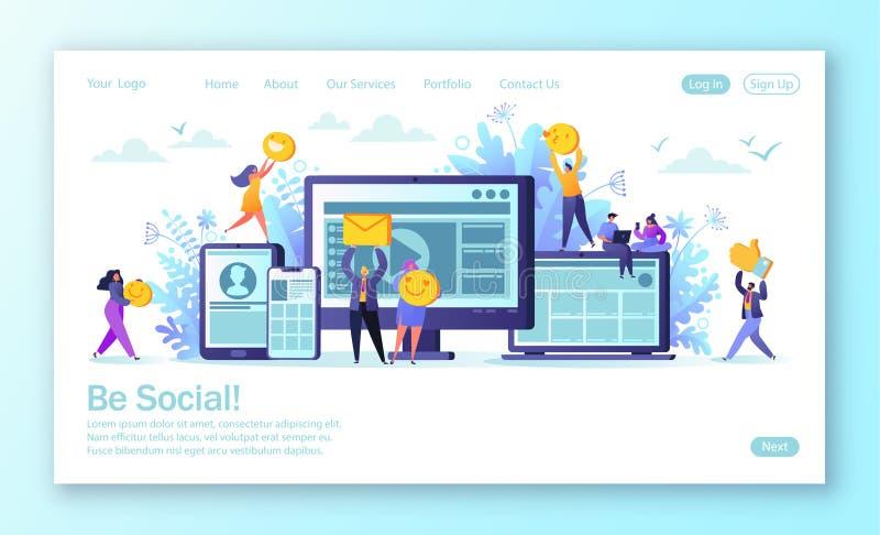 r Man en vrouwen en karakters die gebruikend mobil babbelen blogging royalty-vrije illustratie