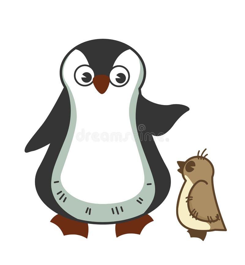 R mateczny penguine łaja małego dziecka dla niewłaściwego zachowania ilustracji
