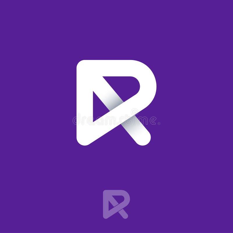 R monogramembleem Origamiembleem De witte brief R bestaat uit verweven lijnen op een donkere achtergrond royalty-vrije illustratie