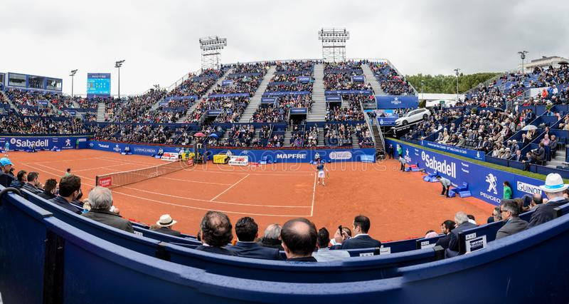 r Nadal- D, Ferrer, spelare i Barcelonaen ?ppnar, en ?rlig tennisturnering f?r den manliga yrkesm?ssiga spelaren arkivbilder