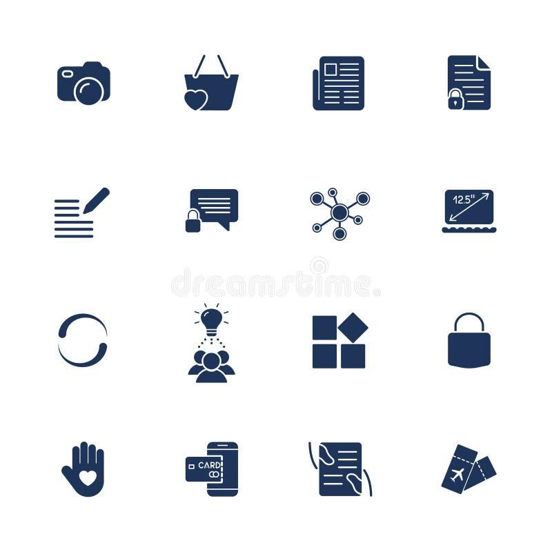 R??ne proste og?lnoludzkie ikony dla miejsc, apps, programuj? Kamera, goniec, laptop, ogólnospołeczna sieć, kędziorek i inny, ilustracja wektor