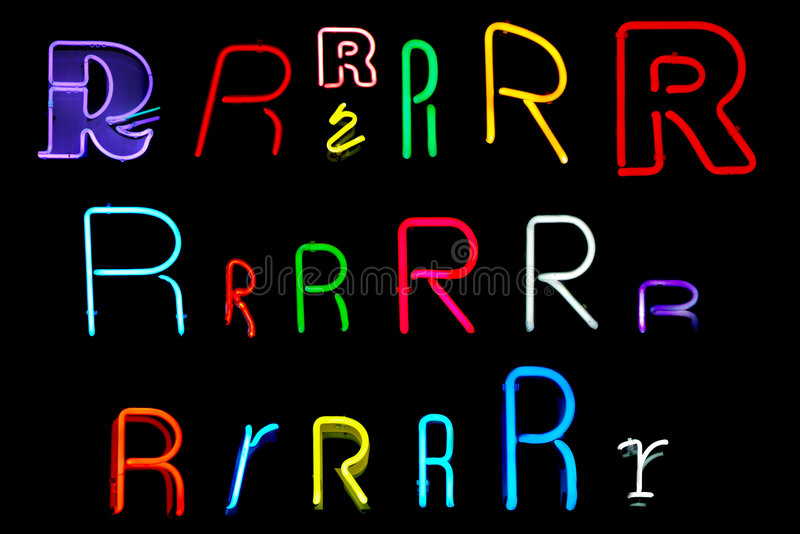 R Neon Letters royalty free illustration