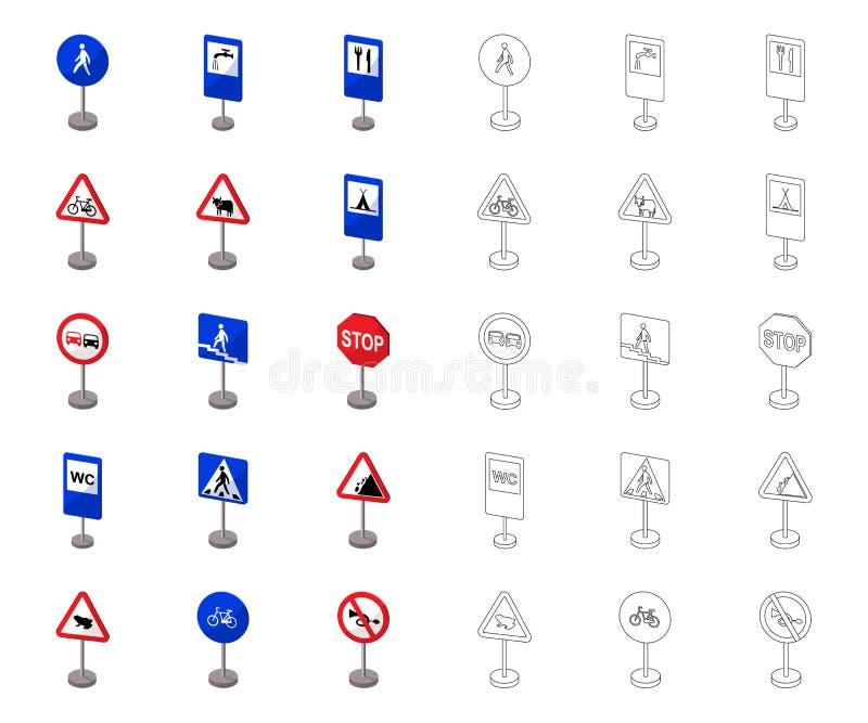 R??ni typ drogowych znak?w kresk?wka, kontur ikony w ustalonej kolekci dla projekta Ostrzegaj?cy i prohibicja znaki wektorowi royalty ilustracja