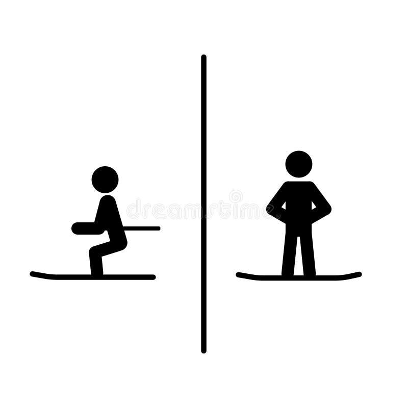 R??nica m??czyzny kobiety narciarstwa jazdy na snowboardzie trwanie miejsca siedz?ce ilustracja wektor
