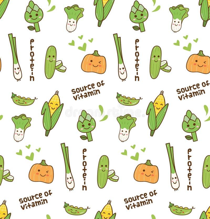 R??norodnego warzywa kawaii bezszwowy wz?r ilustracji
