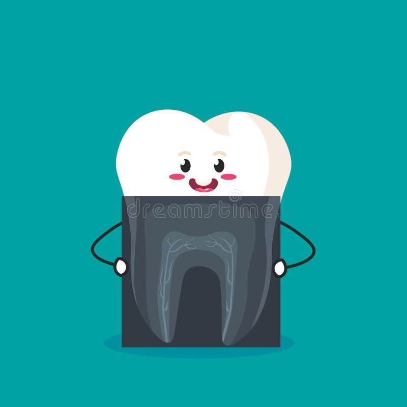R?ntgenstraal van tand grappige beeldverhaaltand die het beeld houdt vectorillustratie op azuurblauwe achtergrond vector illustratie