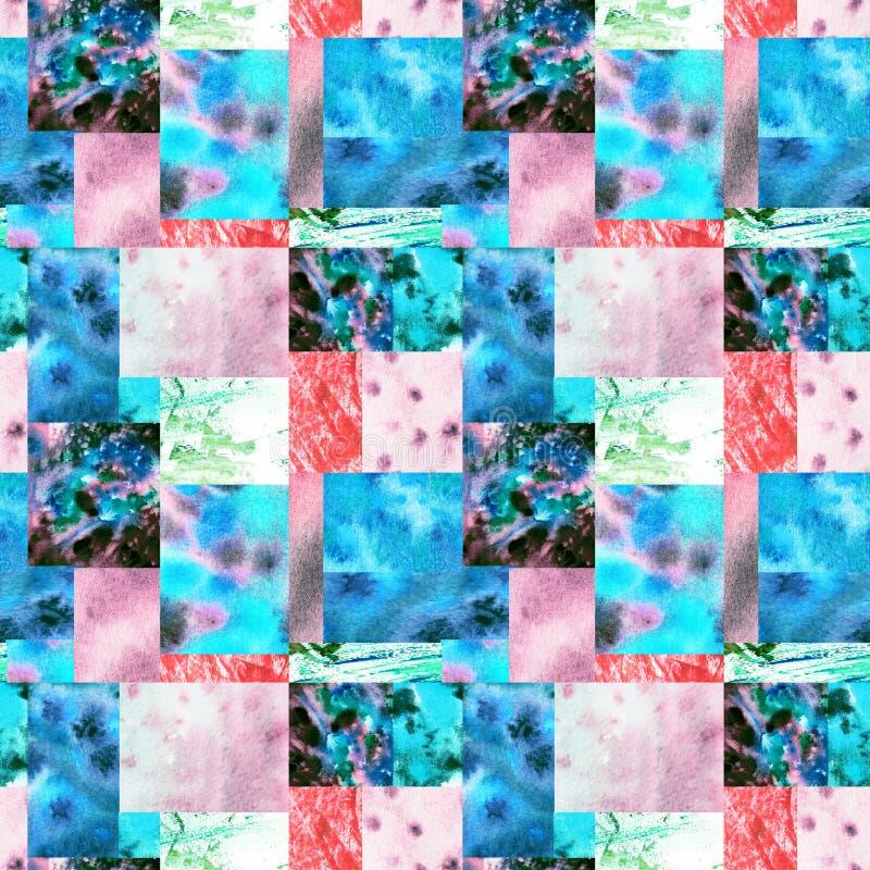 R??owy b??kitny patchworku t?o ilustracji