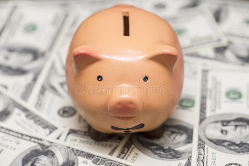 R??owy prosi?tko bank na dolarach biznesu, finanse, inwestyci, oszcz?dzania i korupci poj?cie, obrazy royalty free