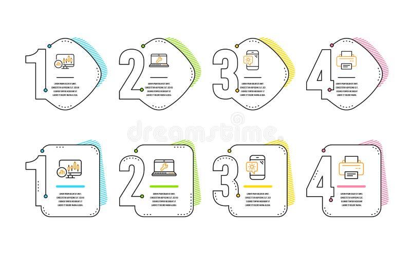 R?paration d'ordinateur portable, t?l?phone de temps et ensemble d'ic?nes de diagramme de chandelier Signe d'imprimante Vecteur illustration de vecteur