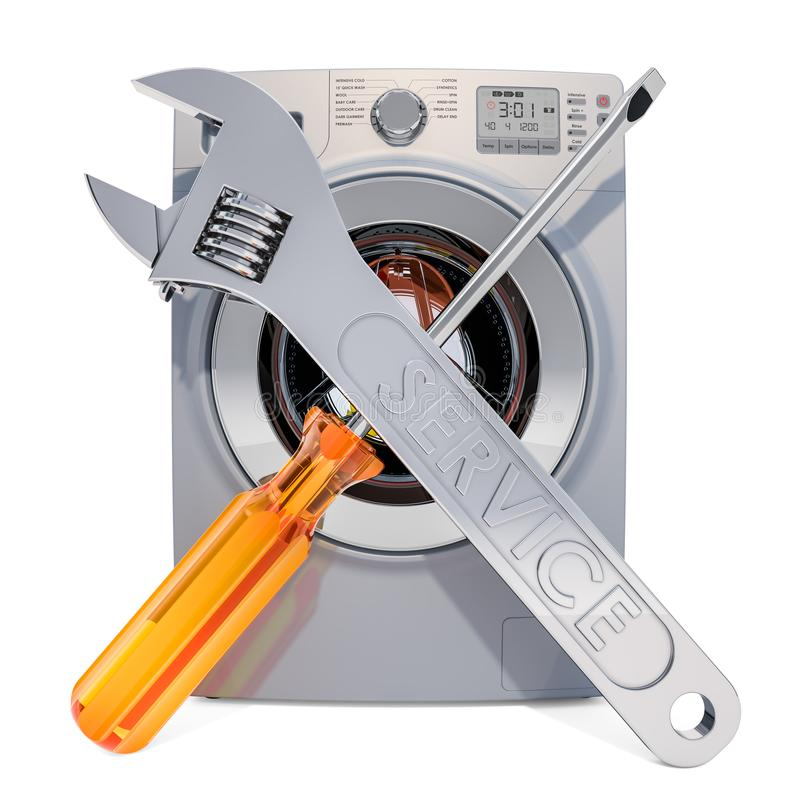 R?paration et service de concept de machine ? laver rendu 3d illustration stock