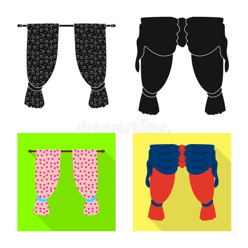r Placez des rideaux et du symbole boursier d'aveugles pour le Web illustration stock