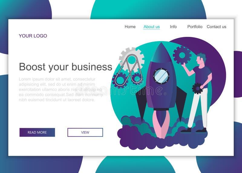 r Plantilla de aterrizaje de la página de impulsar el negocio libre illustration