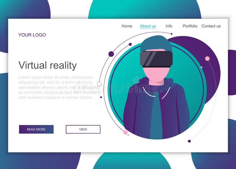 r Plantilla de aterrizaje de la página de la realidad virtual stock de ilustración