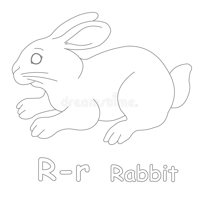 R for Rabbit Coloring Page stock illustration. Illustration ...