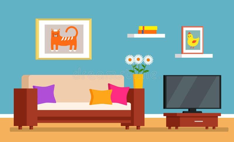 R?ran i rummet, smutsig inre av vardagsrummet reng?rande begrepp f?r ett reng?rande f?retag Plan vektor royaltyfri illustrationer