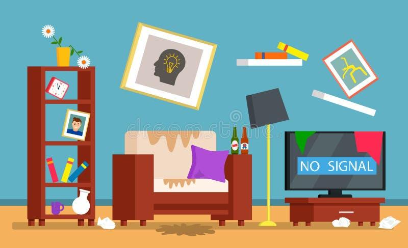 R?ran i rummet, smutsig inre av vardagsrummet reng?rande begrepp f?r ett reng?rande f?retag Plan vektor vektor illustrationer