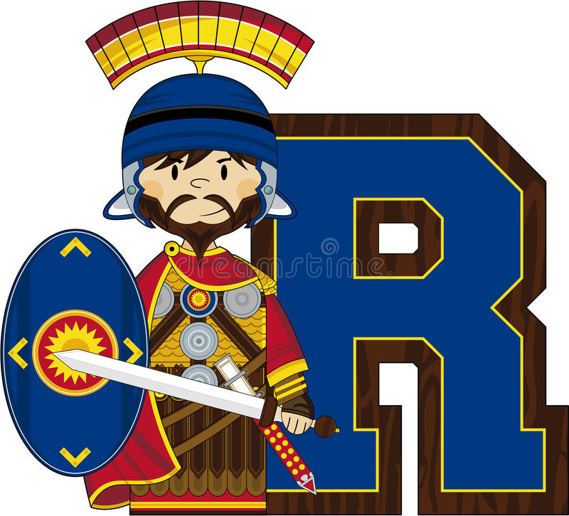 R is for Roman Soldier. Cute Cartoon Roman Soldier with Sword and Shield Learning Letter R - EPS file also available royalty free illustration