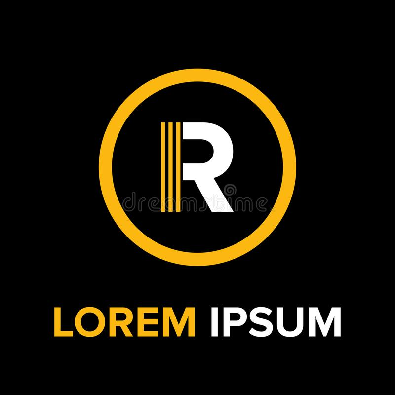 R rotula o logotipo para o negócio imagens de stock royalty free