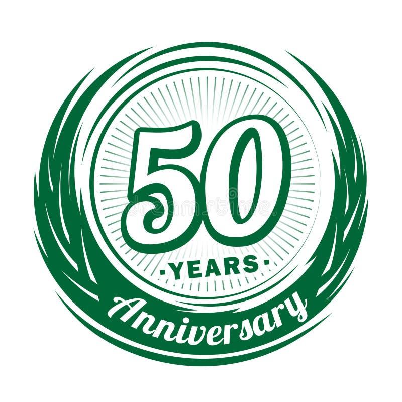 50 ?r ?rsdag Elegant årsdagdesign 50th logo vektor illustrationer