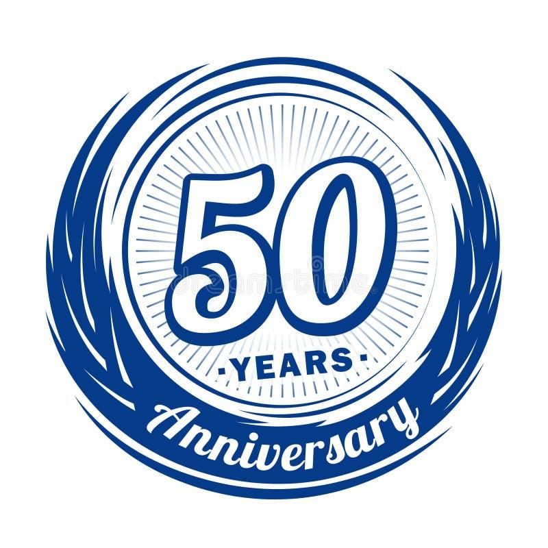 50 ?r ?rsdag Elegant årsdagdesign 50th logo royaltyfri illustrationer