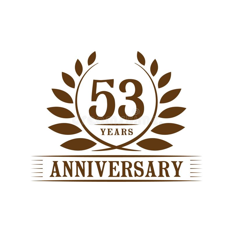 53 ?r ?rsdagber?mlogo lyxig designmall för 53rd årsdag Vektor och illustration vektor illustrationer