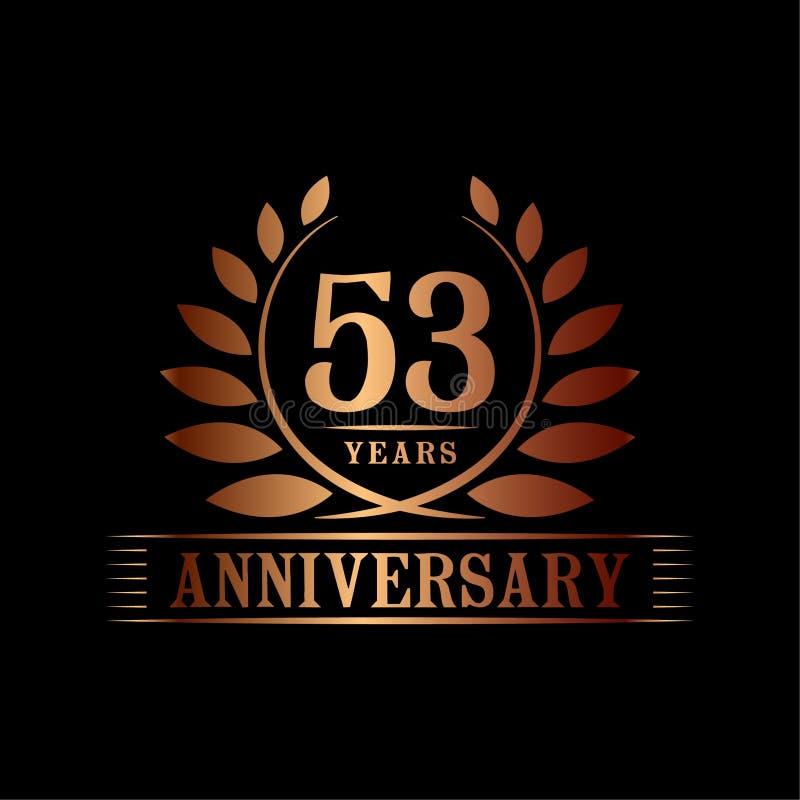 53 ?r ?rsdagber?mlogo lyxig designmall för 53rd årsdag Vektor och illustration stock illustrationer