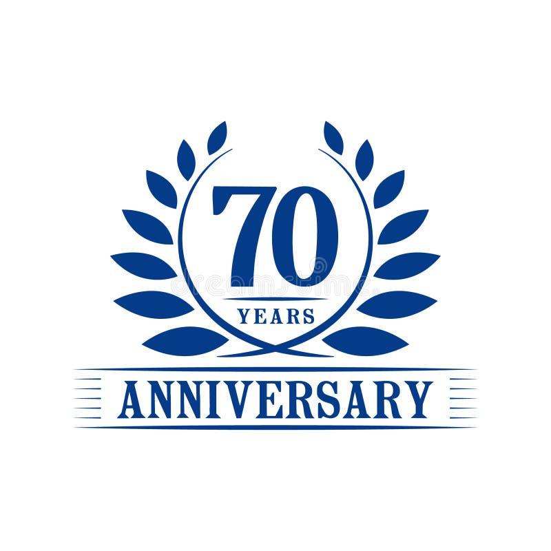 70 ?r ?rsdagber?mlogo lyxig designmall för 70th årsdag Vektor och illustration stock illustrationer