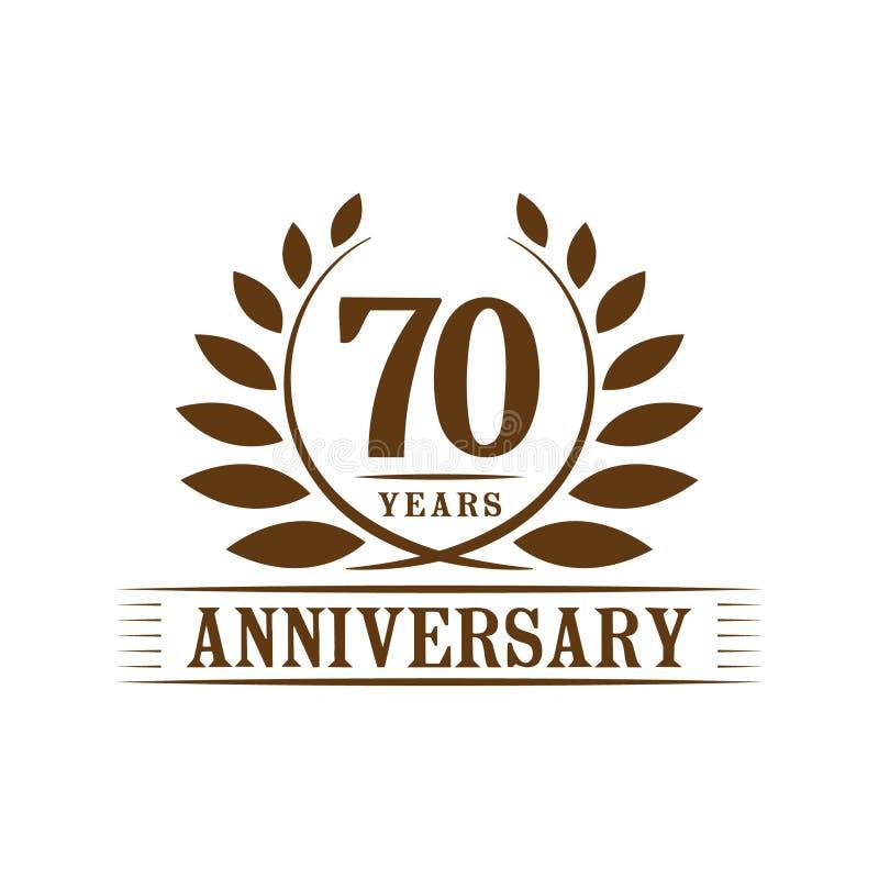 70 ?r ?rsdagber?mlogo lyxig designmall för 70th årsdag Vektor och illustration royaltyfri illustrationer