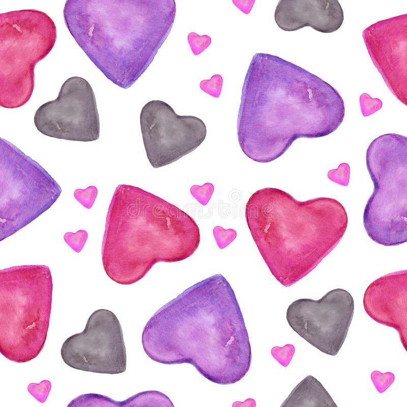 r Sömlös modell för vattenfärg med utdragen färgrik hjärta för hand som isoleras på den vita backgroen vektor illustrationer