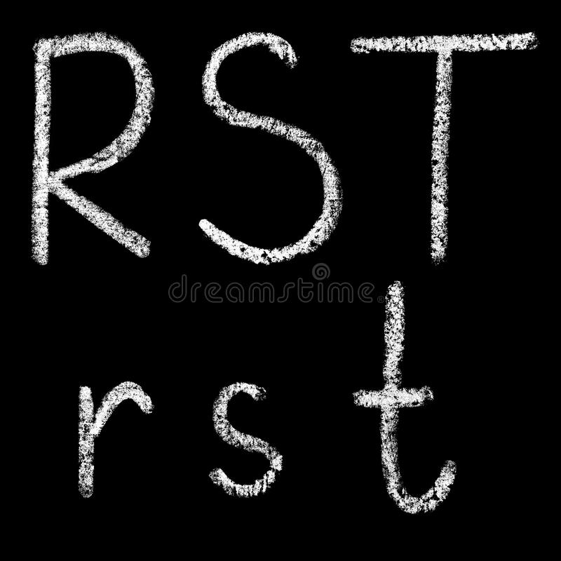 R, s, lettere bianche scritte a mano del gesso di t isolate su fondo nero royalty illustrazione gratis