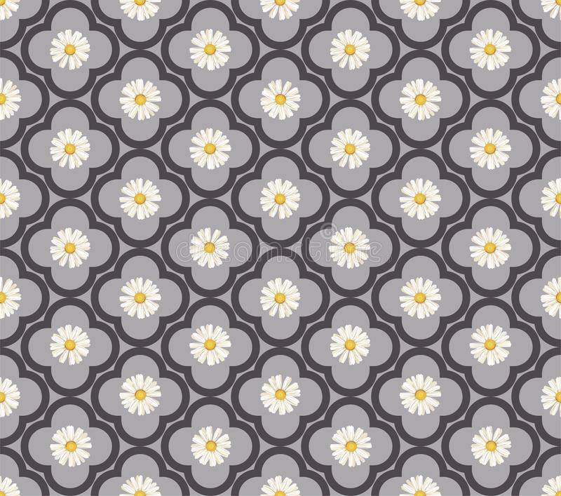 r seamless Άσπρες μαργαρίτες μαργαρίτα, λουλούδι διανυσματική απεικόνιση