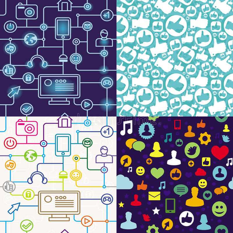 Download R Seamless Pattern With Social Media Icons Stock Illustration - Illustration of page, textile: 24145538