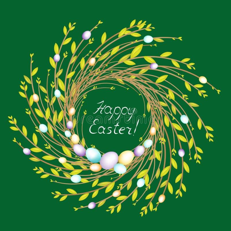 r Sk?ad dekoruje z pi?knymi Wielkanocnymi jajkami Symbol wiosna i wielkanoc ilustracja wektor