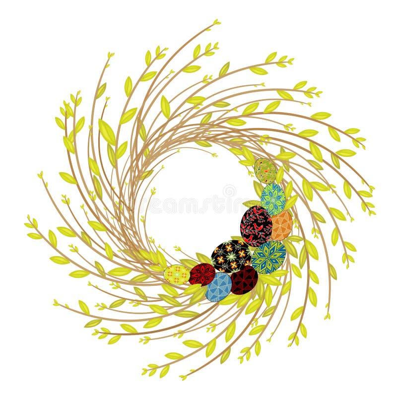r Sk?ad dekoruje z pi?knymi Wielkanocnymi jajkami Symbol wiosna i wielkanoc royalty ilustracja
