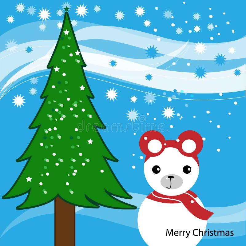 r Snowbear и дерево предпосылка зимы со снежинками Иллюстрация рождества иллюстрация вектора