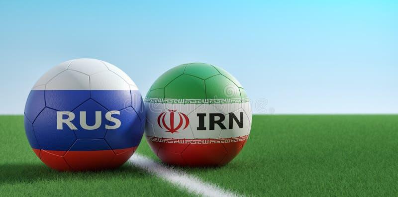 R?ssia contra Fósforo de futebol de Irã - bolas de futebol em cores nacionais de Rússia e de Irã em um campo de futebol ilustração royalty free