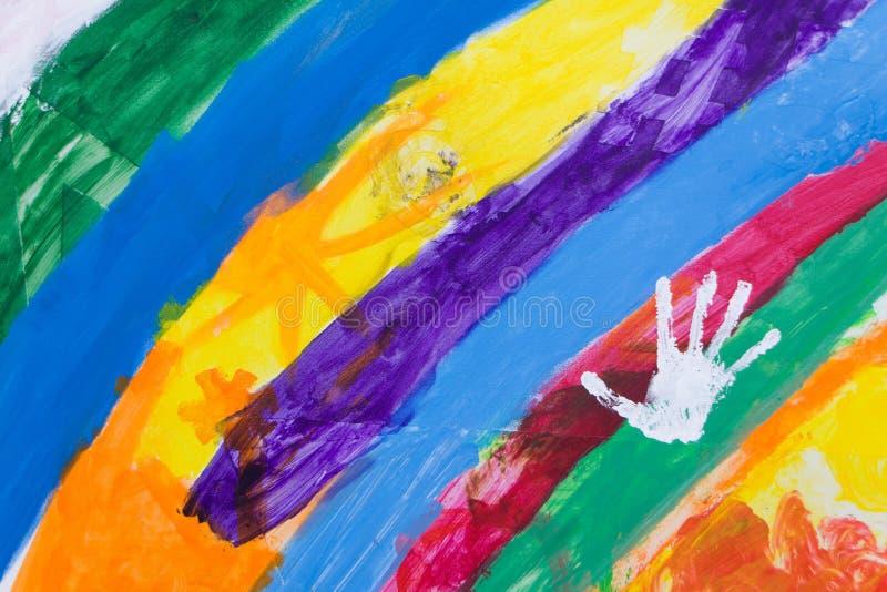 R?ssia, Moscou, 02 06 2019: Arco-íris com um handprint em um festival da rua para crianças ilustração royalty free