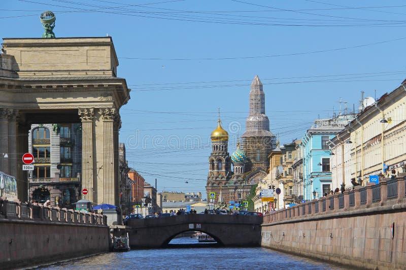 R?ssia St Petersburg Canal de Griboyedov centro de cidade fotografia de stock royalty free