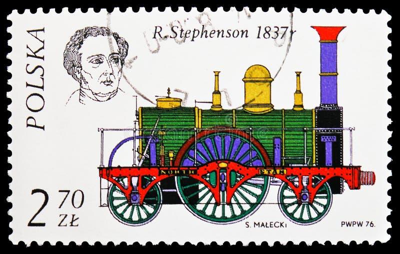 r Stephenson, 1837, história do serie locomotivo, cerca de 1976 fotos de stock royalty free