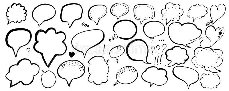 r T恤杉印刷品的,飞行物,海报设计手拉的被绘的讲话泡影 黑讲话起泡隔绝 库存例证